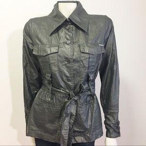 Da Nang Metallic Dark Green Khaki Trench Coat